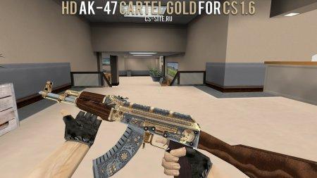 Модель HD AK-47 «Cartel Gold» с анимацией осмотра для CS 1.6