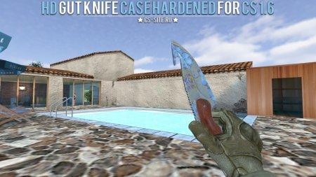 Модель ножа HD «Gut Knife | Case Hardened» с анимацией осмотра для CS 1.6