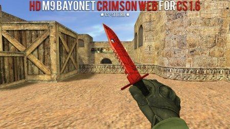 Модель ножа HD «M9 Bayonet | Crimson Web» с анимацией осмотра для CS 1.6