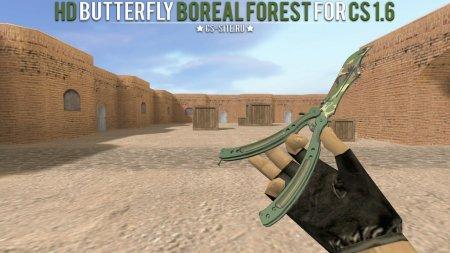 Модель ножа HD «Нож-бабочка | Северный лес» для CS 1.6