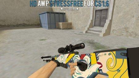 Модель HD AWP «Stress Free» с анимацией осмотра для CS 1.6