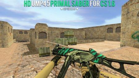 Модель HD UMP45 «Primal Saber» с анимацией осмотра для CS 1.6