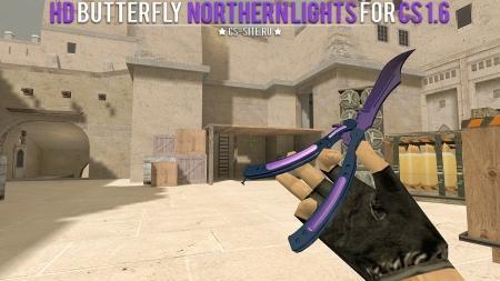 Модель ножа HD «Butterfly Knife | Northern Lights» для CS 1.6