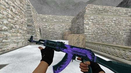 Модель HD AK-47 «Phoenix Rise Purple» для CS 1.6