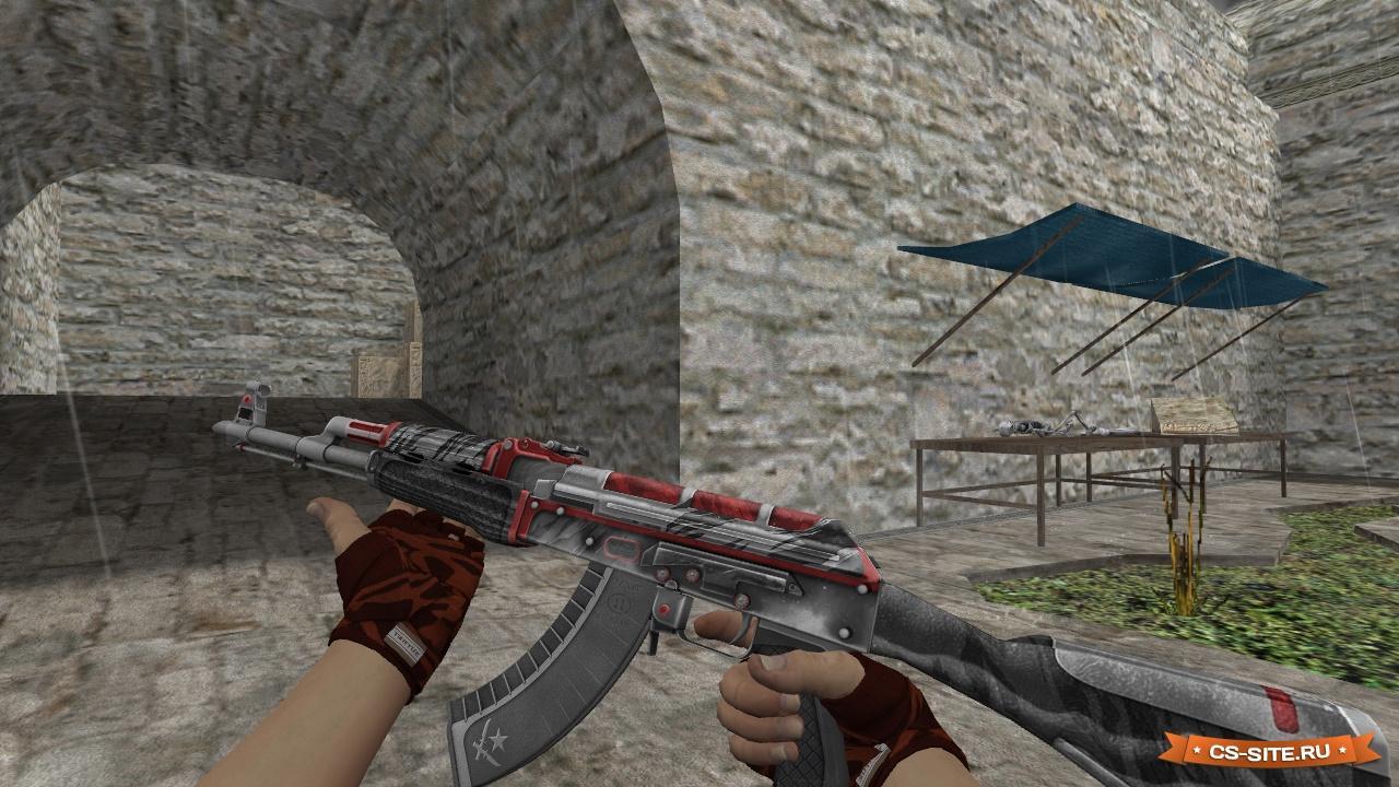 скачать модель оружия ак 47 для кс 1.6 красно-чёрного цвета