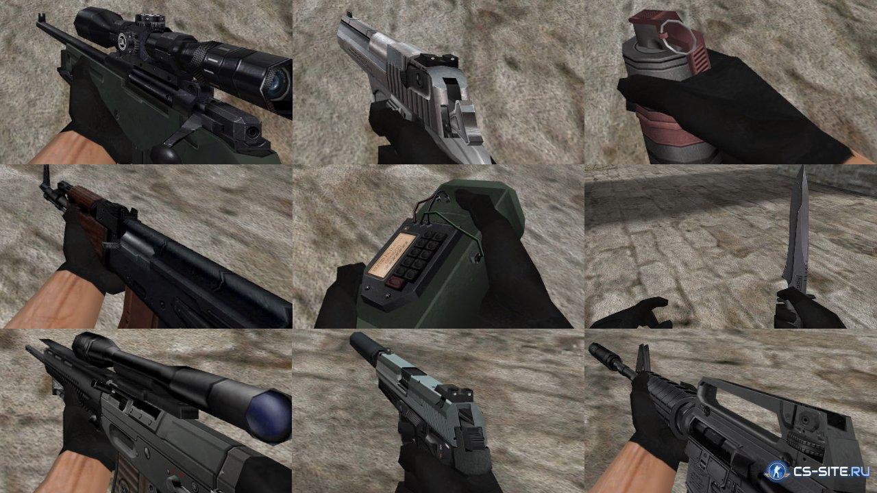 Комплект «red black» моделей оружия для cs 1. 6.